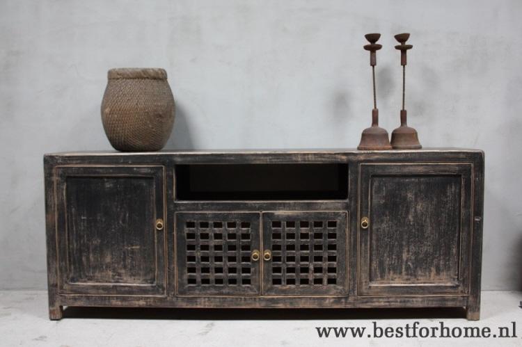 Sobere Stoere Chinese Kast Landelijk Dressoir Rustiek Zwart Oud Hout No757