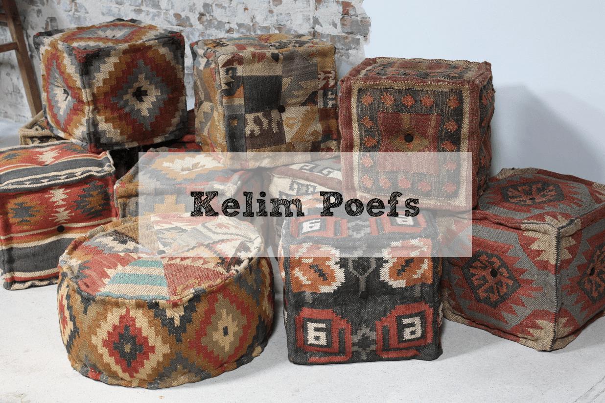Originele Kelim Poefs & Landelijke Hockers